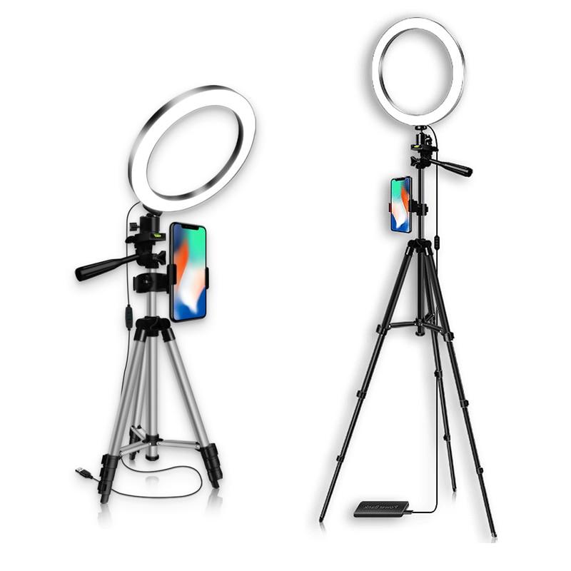 16CM 20CM Selfie Lights Ring Fill Light LED Photographic Studio Dimmable Ringlight smart Phone Holder Lighting 1 1m Tripod