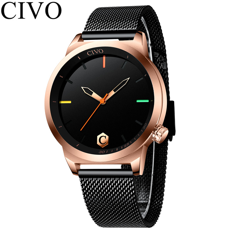 Man Watch Top Brand Luxury Quartz Watch For Men Gifts Erkek Kol Saati Waterproof Genuine Mesh Band Minimalism Black Watch 8110