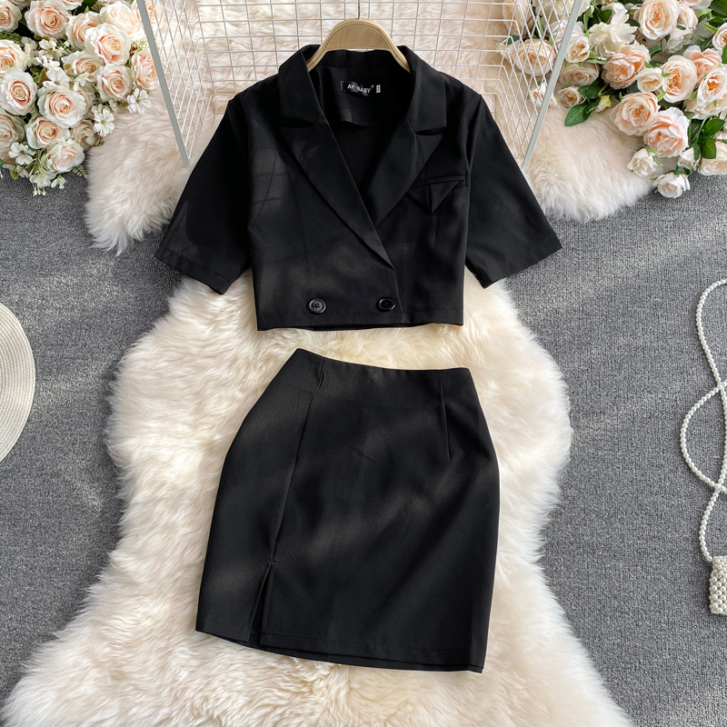 Uulutonica Summer Women Super-short Above Knee, Mini Double Breasted Notched Slim Solid A-LINE  Skirt Suits
