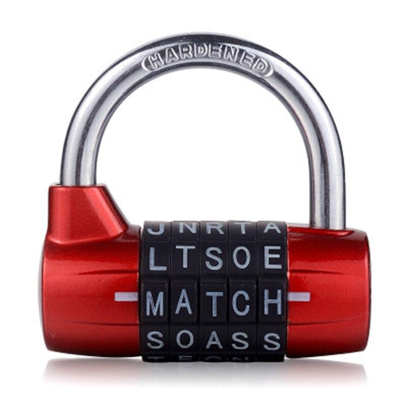 5 Letter Zinc Alloy Combination Padlock Code Password Lock Door Cabinet Drawer Bike Motorcycle Student Locker Locks(Red)