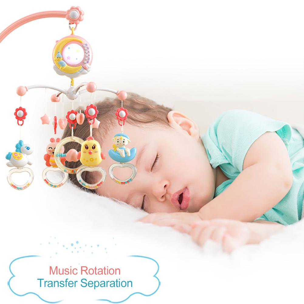 Baby Musical Crib Toy Mobile Bed Bell Toys Hanging Rattles Rotating Projection Gift With Night Light For Cribs Baby Strollers