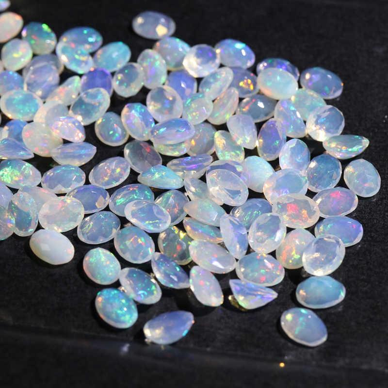 טבעי האתיופית צבעוני cuting אופל סגלגל 6*8mm למעלה איכות טבעי אבני חן יקר עבור 925 סטרלינג כסף DIY תכשיטים