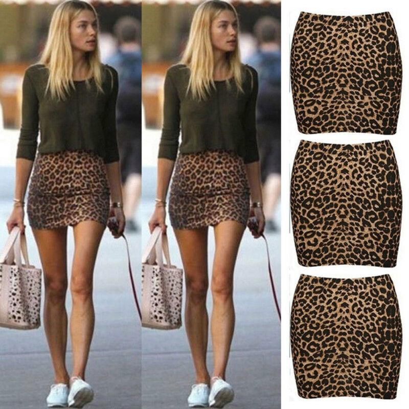 Women High Waist Leopard Print Bodycon Casual Clubwear Slim Mini Skirt Size S-L Pencil Short Party Night Club Wear Mini Skirts
