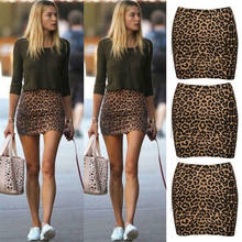 Wanita Tinggi Pinggang Leopard Cetak Bodycon Kasual Clubwear Slim Mini Rok Ukuran S-L Pendek Pesta Malam Club Wear Mini rok(China)