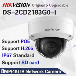 Original 8MP IP Camera POE Outdoor DS-2CD2183G0-I Security Dome Camera H.265 with SD card slot & 30m night vision Waterproof