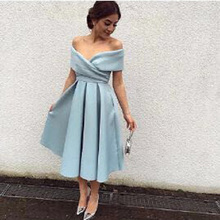 vintage Simple but Elegant Sky Blue Off the Shoulder Pleated Tea Length Prom bridesmaid Dresses sky blue stripe off the shoulder 3 4 length sleeves bodycon dress