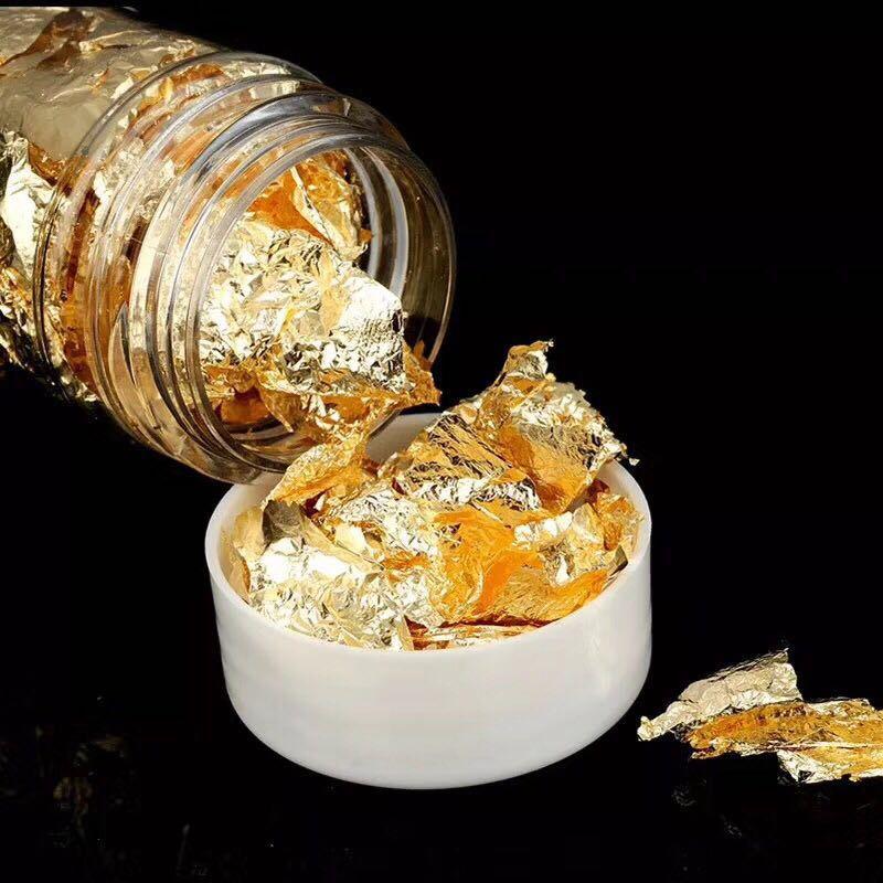 Edible Grade Genuine Gold Leaf Schabin Flakes Gold Cake Decoration DIY Chocolates Decor For Wedding Birthday Party Baby Shower