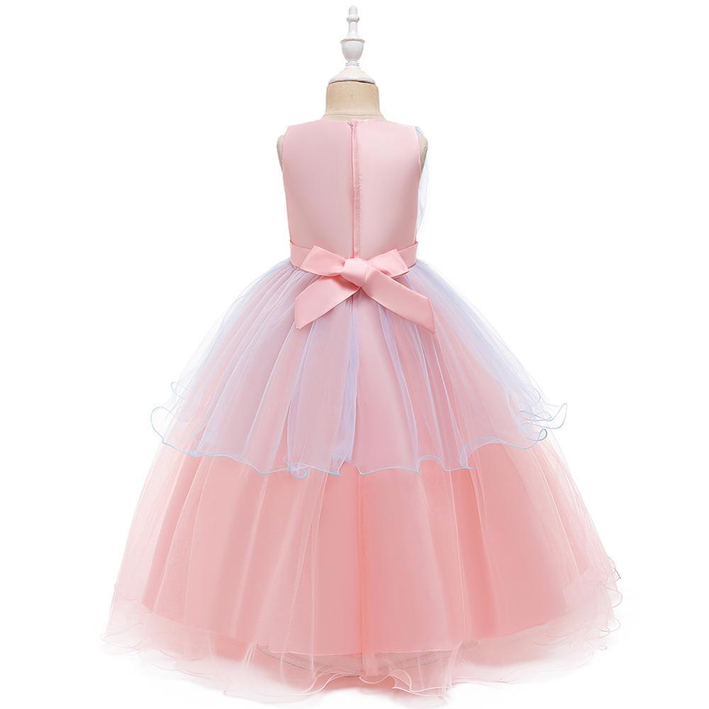 Flower Girl Dress Elegant Sleeveless O-neck Kid Party Gowns Wedding  White Pink Orange Dresses For Girls