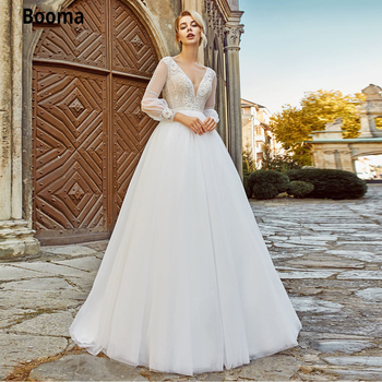 Booma Beach Boho Wedding Dresses Lace Appliques Tulle Bridal Gown Vintage with Full Sleeve V-neck Princess Wedding Gown 2021 lorie champagne tulle wedding dresses beach boho lace appliques bridal gown o neck illusion short sleeve vintage wedding gowns
