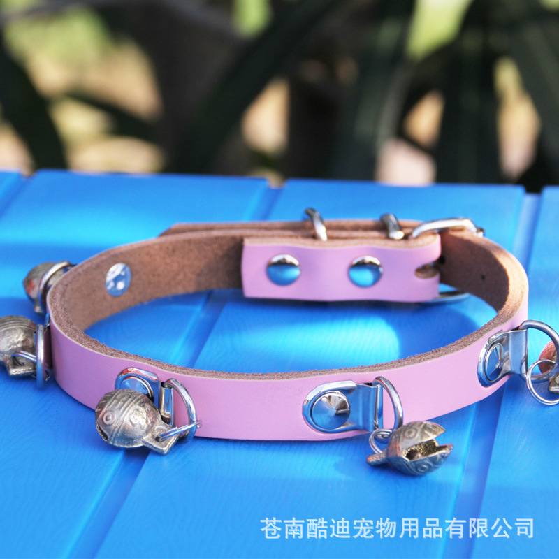 Small Cowhide Medium-small No. Neck Ring Bell Dog Neck Ring Pet Collar Dog Collar Dog Supplies Pet Bell