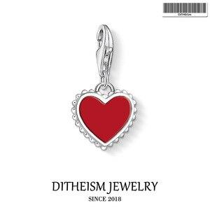 Маленькие подвески с красным сердцем, 2020, модные ювелирные изделия из стерлингового серебра 925 пробы, романтический подарок для женщин и дев...