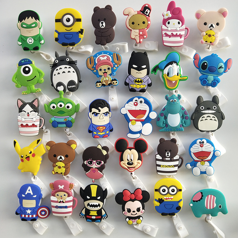 10Pcs/Lot Retractable Silica Gel Cute Cartoon Nursing Card Holder, Card Holder, Badge Holder, Badge Reel, Retractable Badge Clip