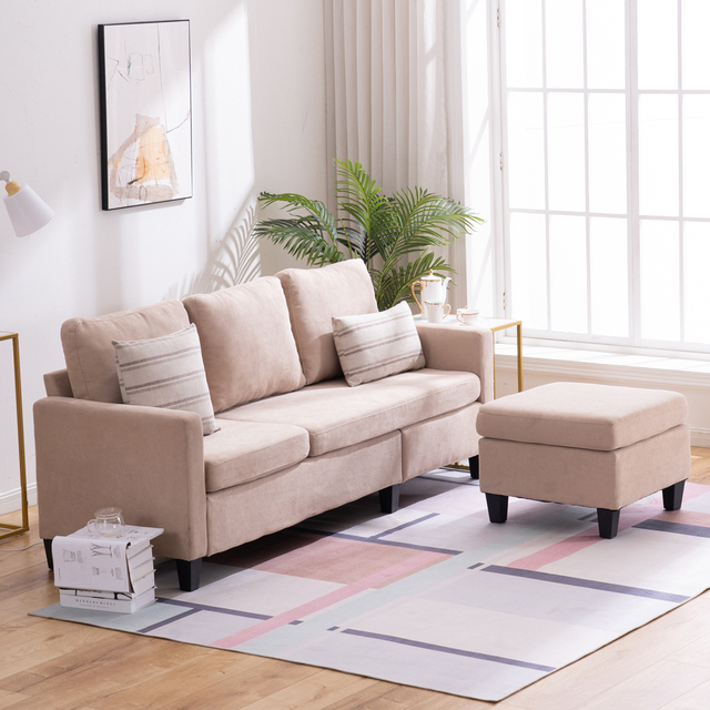 Double Chaise Longue Combination Sofa Beige Model Room Sofa Set  (194 x 126 x 89)cm for Livingroom 5