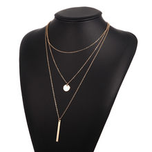 Concise Metal Bar Pendant Necklace Geometric Charm 2019 New Bohemian Multilayer Necklace Golden Women Jewelry Wholesale Price(China)