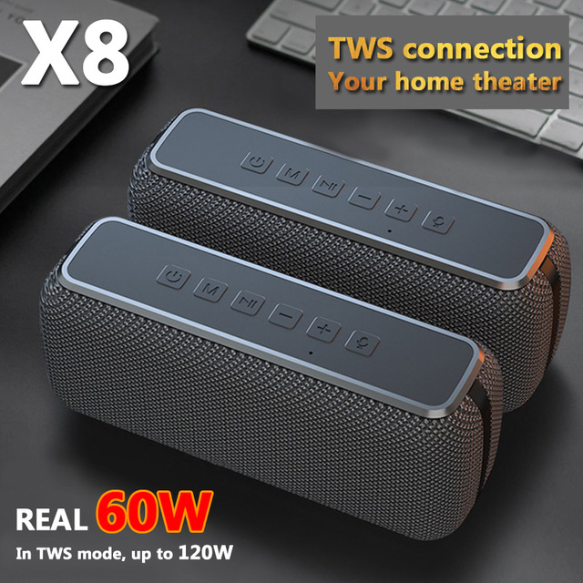 60W Big Power Bluetooth Speaker Wireless Portable Column Waterproof DSP Bass Subwoofer Music Center with Voice Assistant 6600mAh