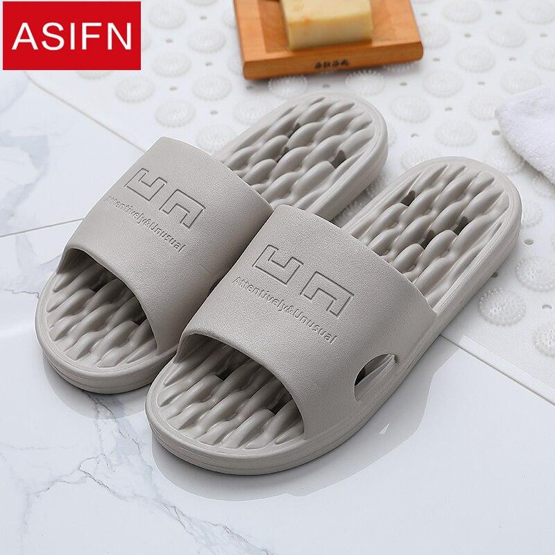 ASIFN Men's Slippers Summer Bathroom Non-slip Quick-drying Soft Hollow Bottom Sandals Women Men Slides Massage Flip Flops Male