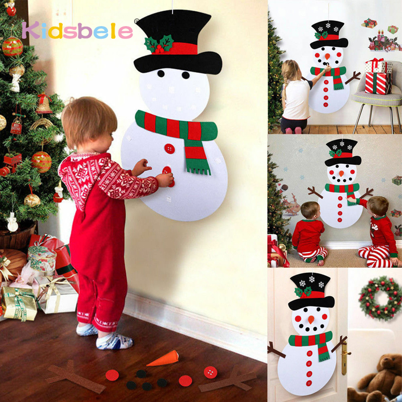DIY Felt Christmas Tree Kids Toys For Children Kindergarten Crafts Snowman Educational Toys Decoration Best Gifts For Children