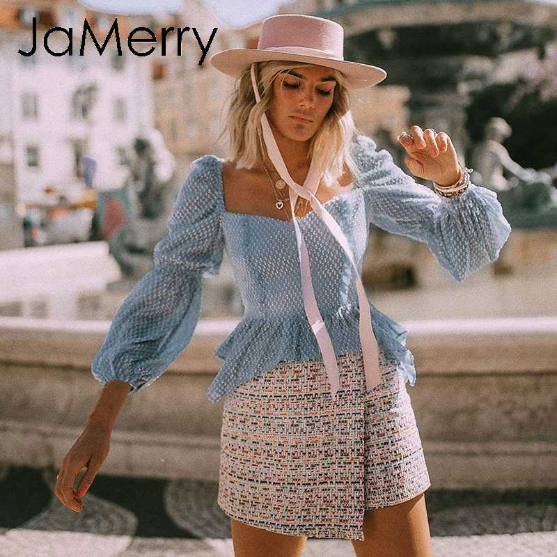 JaMerry Vintage sexy chiffon polka dots ruffle blouse shirt Casual square collar lantern sleeve blouse Female elegant slim top