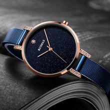 Ruimas Women Watches Top Brand Luxury Watch Quartz Wristwatch Ultra Slim Mesh Band Minimalism Design Relojes Mujer 523