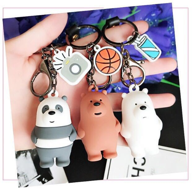 Cartoon We Bare Bearskey Chain  Cute Three Animal Bears Doll Keychains Women Car Bag Pendant Belt Trinkets Keyring Porte Clef