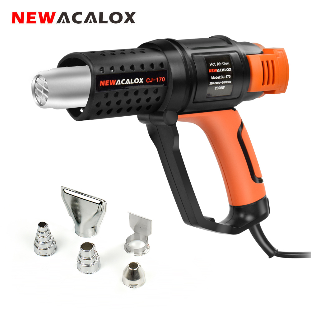NEWACALOX Household Hot Air Gun Hair Dryer 2000W EU 220V Thermostat Heat Gun with 5pc Nozzles for Soldering  Car Foil Heat Tool