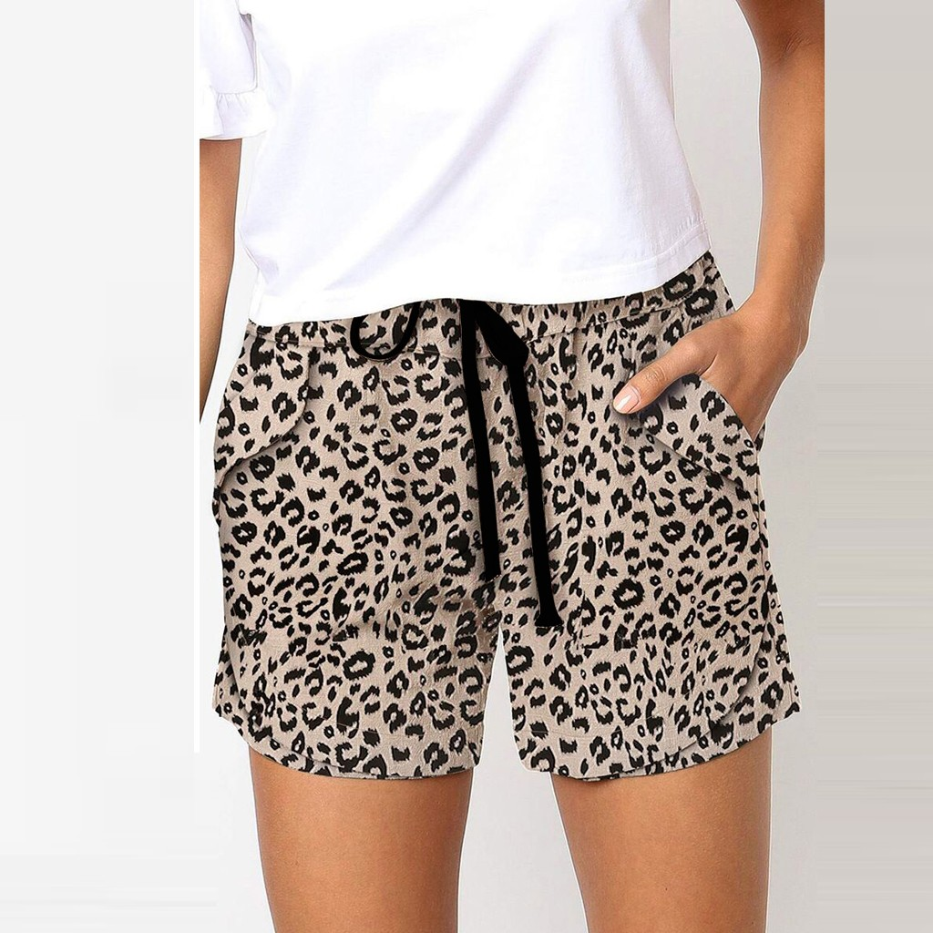 Womens Comfy Stretch Leopard Print Drawstring Long Wide Leg Lounge Shorts,Summer Casual Beach Pajamas Shorts with Pockets