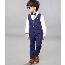 Brand Kids Suit for Weddings Flower Boys Formal Prom Party Vest + Shirts+Pants 3pcs Children Piano Performance Costume