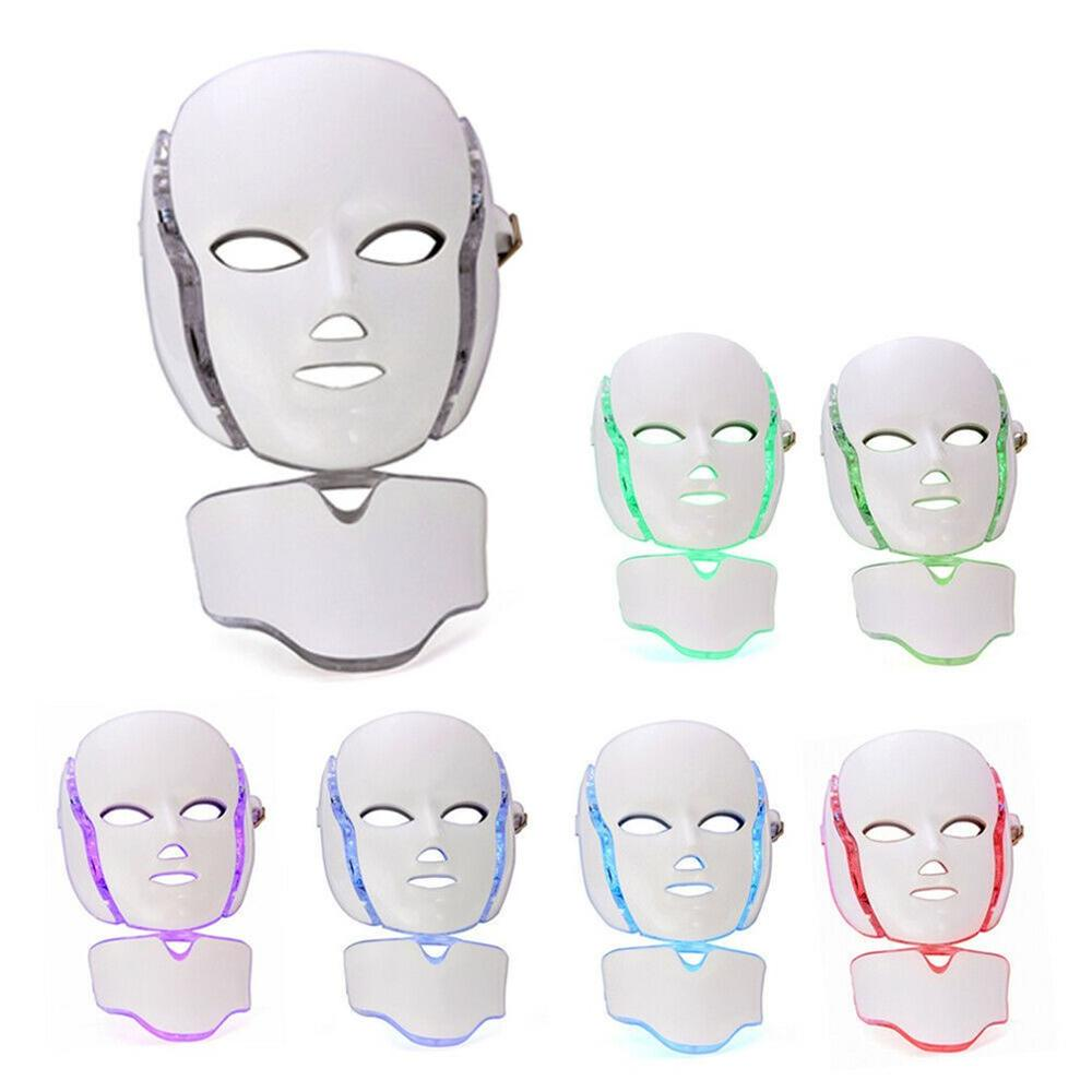 7 Color LED Face Neck Mask Photon Skin Rejuvenation Therapy LED Facial Mask Infrared Light Whiten Repair Skin Acne Removal Mask