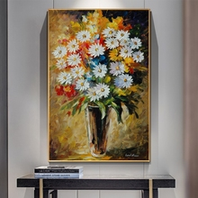 2015 special offer direct selling freeshipping no 50x50 oil square cuadros wall pictures for living room quadros high quality 35 Daisy Oil Paintings on Canvas Wall Pictures Abstract Flower Posters and Prints for Home Living Room Wall Art Cuadros Decoracion