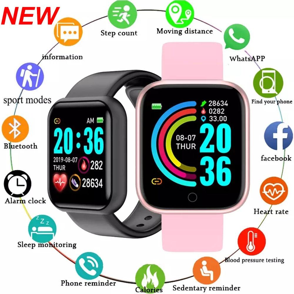 Y68 חכם שעון גברים שעוני יד Smartwatch אלקטרוני שעון כושר צג גברים מתנה Reloj inteligente עבור Huawei Relogio SB001