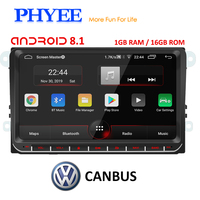 PHYEE 2Din Radio Android 8.1 Autoradio GPS Navi CANBUS 9 inch Car Multimedia Player for VW Golf 5/6 Polo Passat B7 B6 Skoda Seat