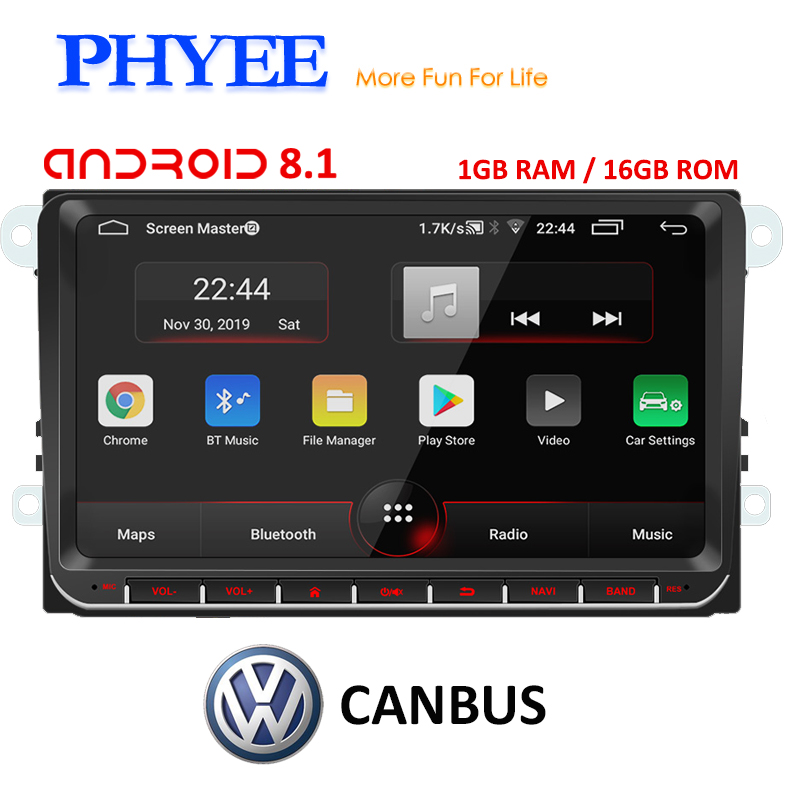 PHYEE 2Din Radio <font><b>Android</b></font> 8.1 Autoradio GPS Navi CANBUS 9 inch Car Multimedia Player for VW <font><b>Golf</b></font> 5/<font><b>6</b></font> Polo Passat B7 B6 Skoda Seat image