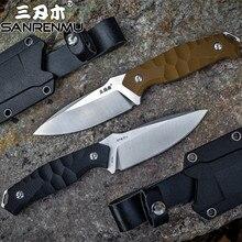 Sanrenmu S718 קבוע להב סכין עם נדן K 12C27 להב חיצוני קמפינג שירות הישרדות טקטי ציד סכין EDC כלי CSGO