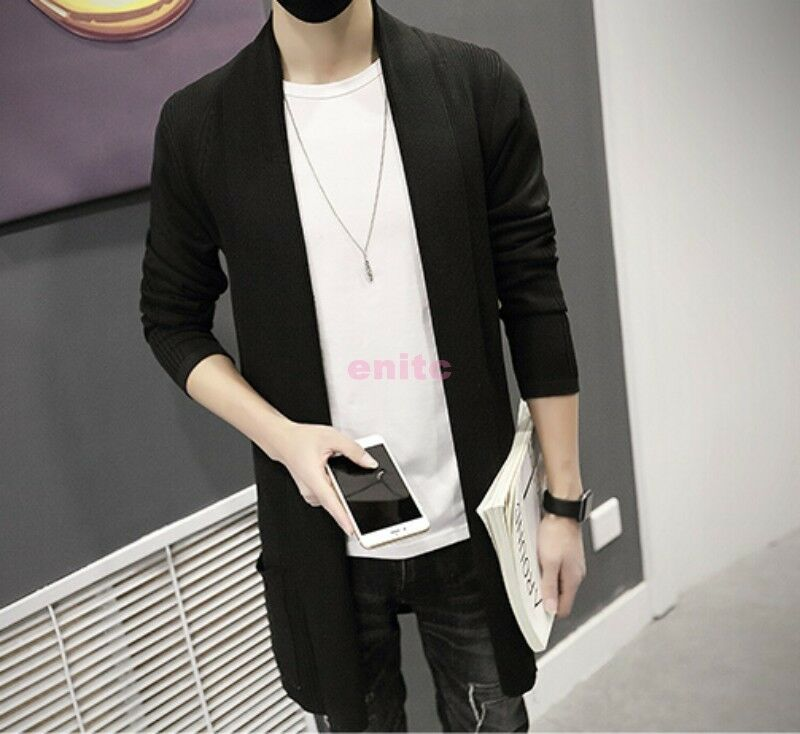 Mens Coats Knitted Sweaters Outwear Korean Long Cardigan Slim Leisure All-match