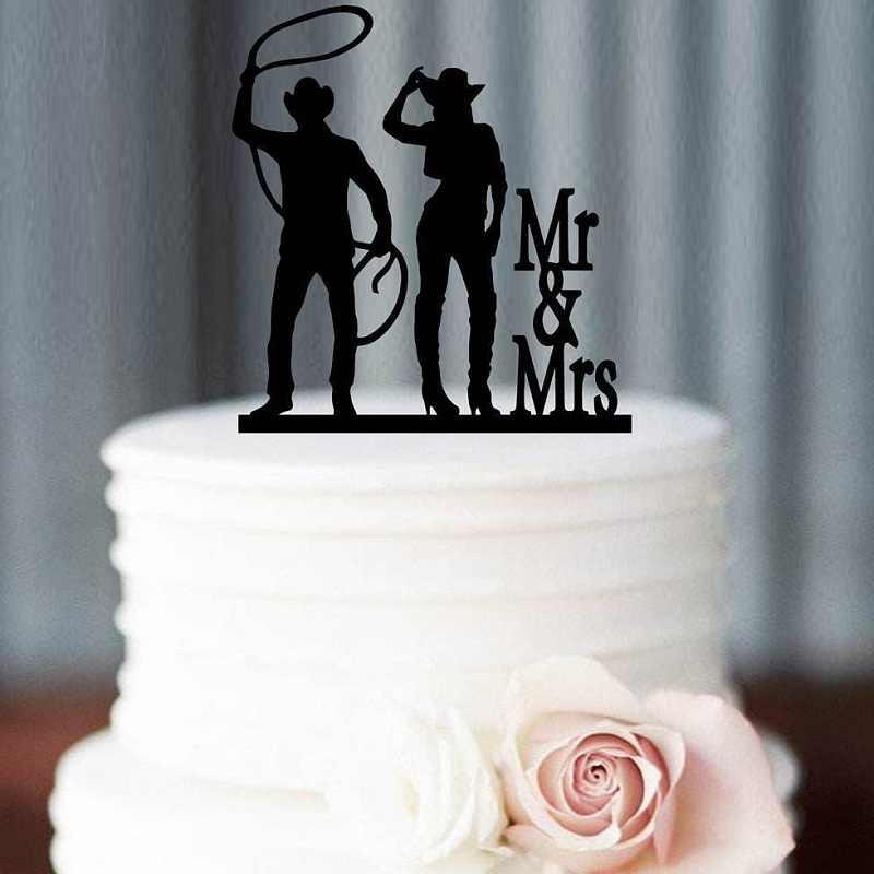 CUSTOM คาวบอยงานแต่งงานเค้ก Topper MR และ MRS,ตกแต่งงานแต่งงาน,อุปกรณ์