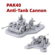 1:72 edificio Cannon modelo WW2 PAK40 Anti-tanque de artillería escenario Asamblea niños bloques soldado militar figuras juegos de guerra