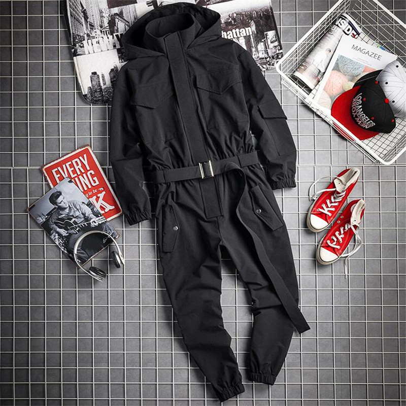 2020 New Mens Hip Hop Cargo Jumpsuit Fashion Black Sashes Joggers Overalls Multi Pockets Work Rompers Streetwear Korean Clothes