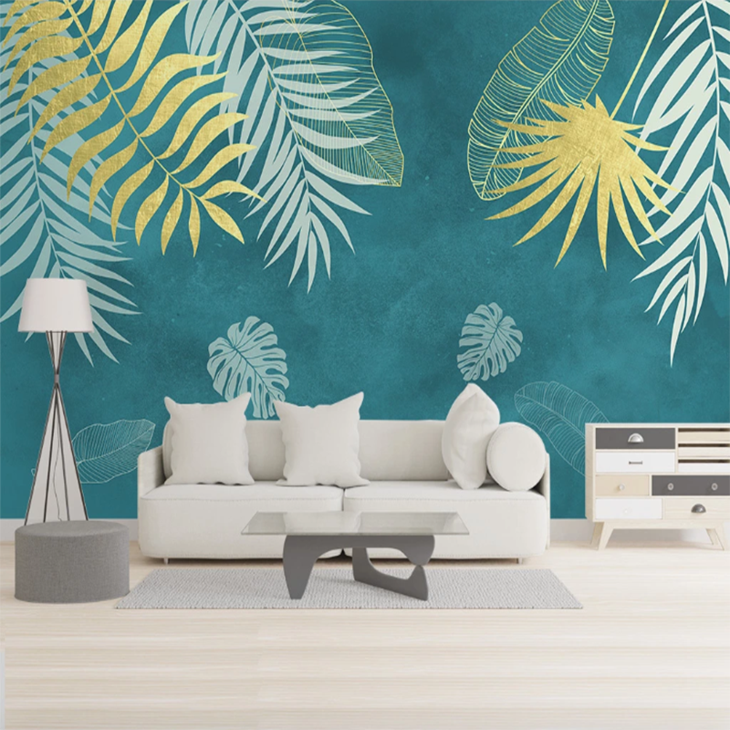 Seamless Wallpaper Simple Hand Painted Lines Tropical Leaves Bedroom Background Wall Painting Wallpapers Aliexpress Scatter these polyester tropical leaves on beach party tables. seamless wallpaper simple hand painted lines tropical leaves bedroom background wall painting