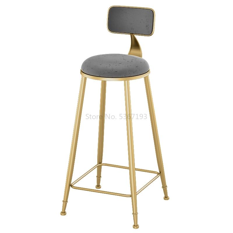 Northern Europe Bar Chair Modern Bar Counter Stool High Foot Chair Backrest Bar Stool Bar Chair Commercial Furniture