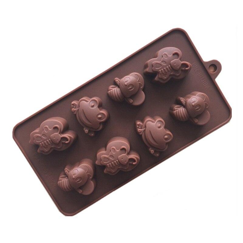 Molde de silicona para chocolate con 8 agujeros para insectos, molde de silicona para Tartas Molde de silicona para Chocolate, forma de barra, patrón de escala de pescado, forma de raya, decoración, hoja de transferencia, molde para torta, decotación superior