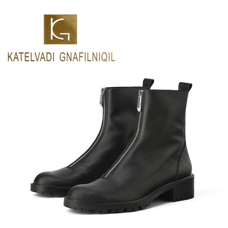 KATELVADI Fashion Ankle Boots Winter PU Leather Lining Work Shoes Round Toe Front Zip Women  Black K-490