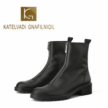 KATELVADI Fashion Ankle Boots Winter PU Leather Lining Work Shoes Round Toe Front Zip Women  Black K-490