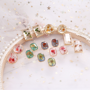 MENGJIQIAO Korean Newl Vintage Flower Holiday Stud Earrings For Women Fashion Square Acrylic Elegant Pearl Oorbellen Jewelry
