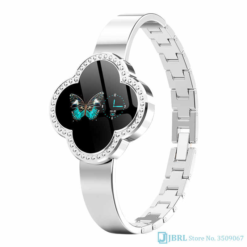 แฟชั่นดอกไม้ smartwatch สแตนเลสผู้หญิงสายรัดข้อมือบลูทูธฟิตเนสสร้อยข้อมือ IP67 กันน้ำสมาร์ท Android IOS โทรศัพท์
