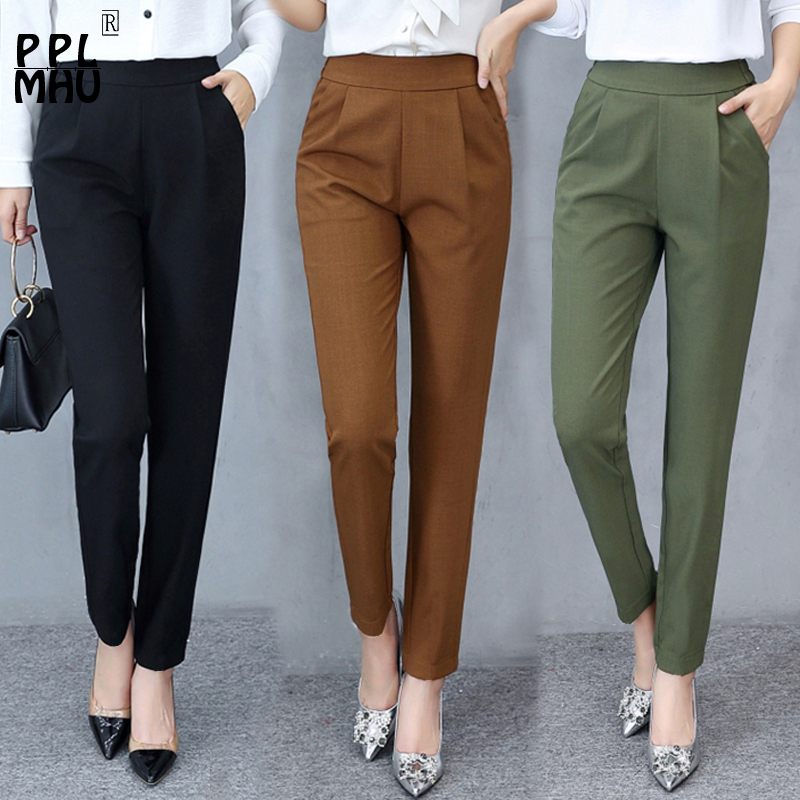 Fashion Summer And Autumn New Thin Stretch Harem Pants 2019 Women Loose Large Size Korean Wild Trousers Casual Trousers Women
