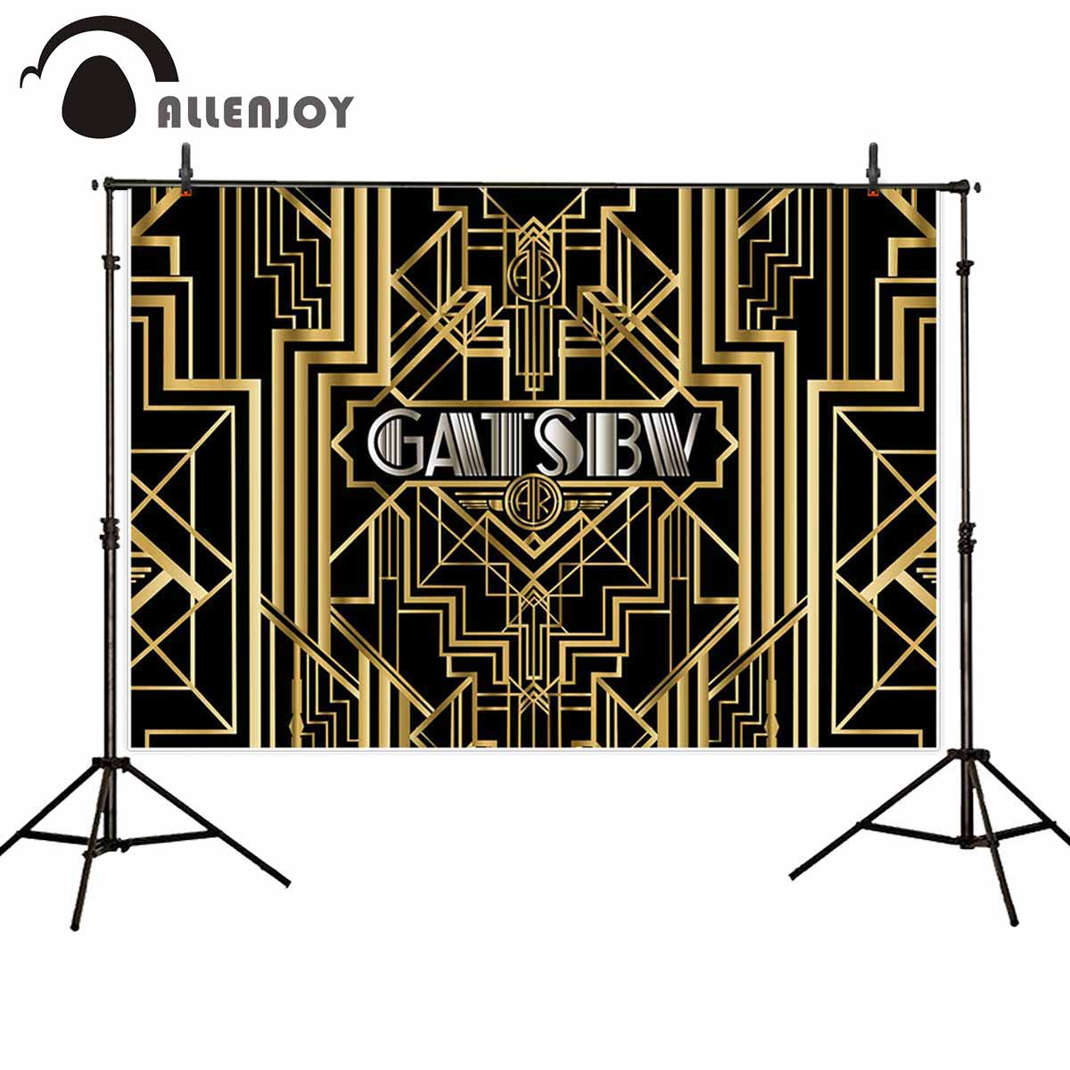 Image 5 - Allenjoy Great Gatsby Background Vintage Car Lady Happy Birthday Backdrop Photozone Golden Luxurious Adult Event Party BannerParty Backdrops   -