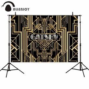 Image 5 - Allenjoy Great Gatsby фон для фотосессии, винтажный, для женщин, с днем рождения, золотой, роскошный, для взрослых, вечерние, баннеры для мероприятий