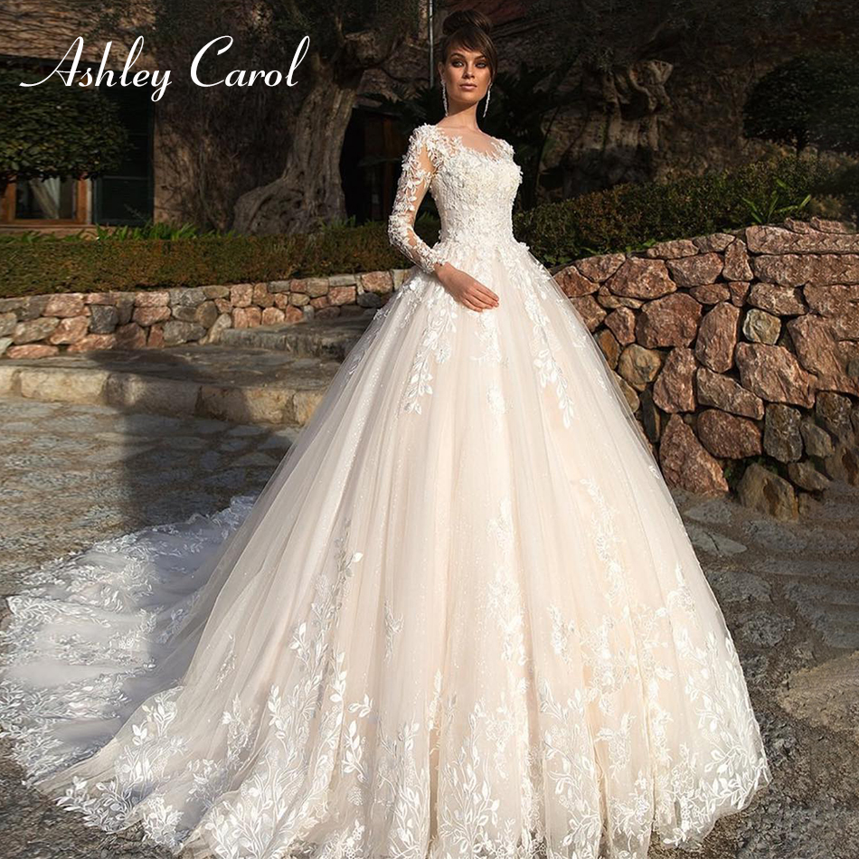 Ashley Carol Sexy Scoop Long Sleeve Princess Wedding Dress 2019 Luxury Chapel Train Bride Dress Romantic Appliques Wedding Gowns