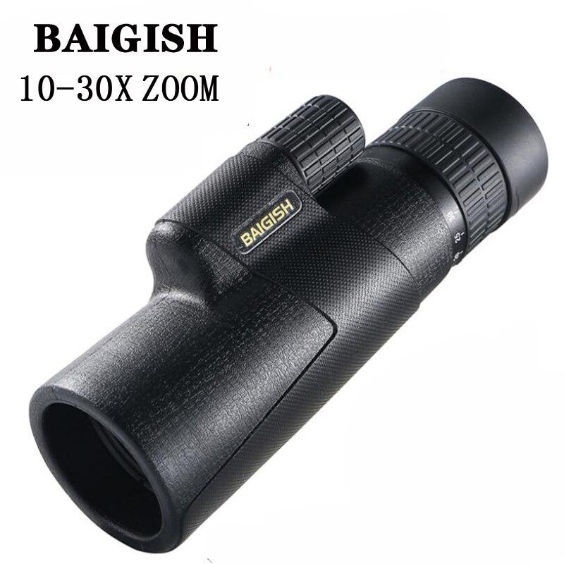Байгиш зум 10-30X42 военный монокулярный телескоп HD BAK4 призма высокой мощности бинокль снайперский Spyglass для наружного охотничьего лагеря