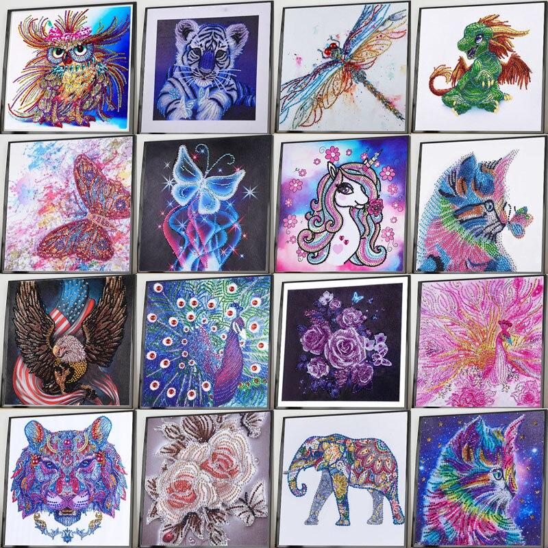 5D Special Shaped Partial Drill Cats Diamond Painting Rhinestones Tiger Flowers Diamond Embroidery Cross Stitch Diamond Mosaic